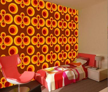 Papier peint  intissé lavable motifs et couleur vintage orange et marron