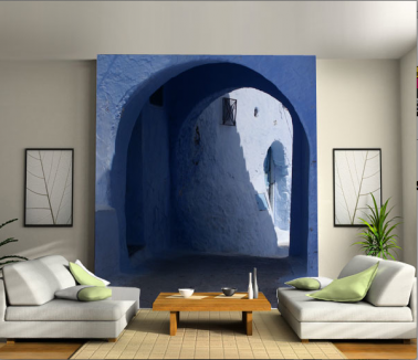 Invitation au voyage dans son salon avec un mur d'image aux couleurs de rêves de l'ile de Santorin