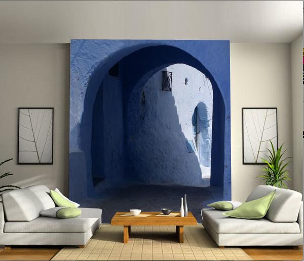 Papier peint mur d image porte bleue santorin d coration for Simulation papier peint salon