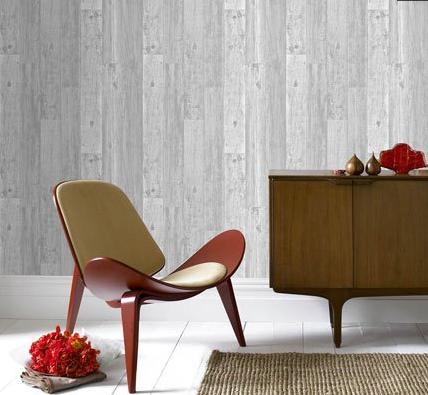 papier peint trompe l 39 oeil imitation bois clair. Black Bedroom Furniture Sets. Home Design Ideas