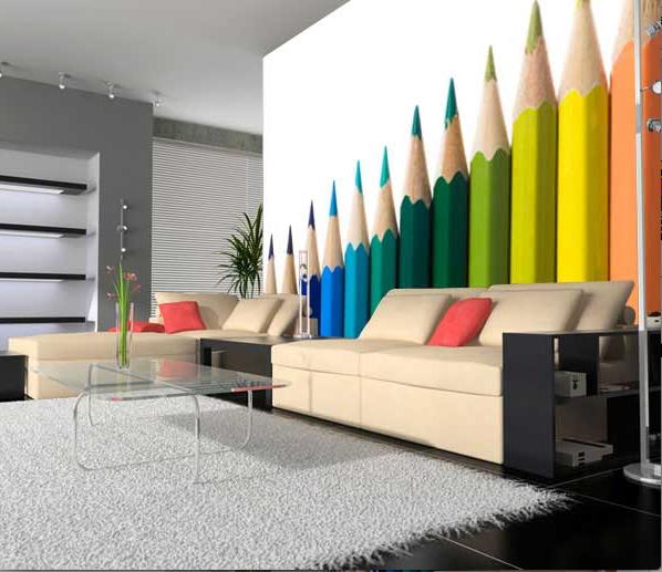 Papier peint vinyl intisse mur d image decor crayons - Simulation papier peint salon ...