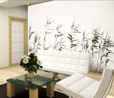 Papier peint zen vinyl intisse for Decoration grand mur salon