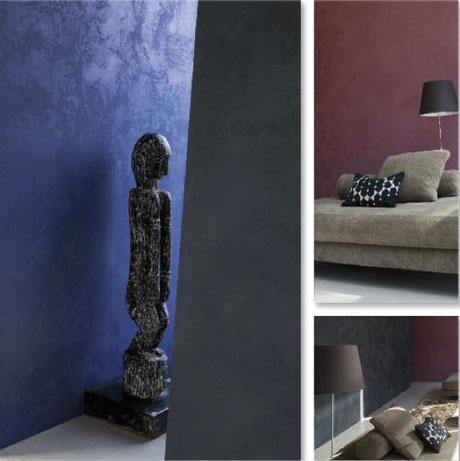 peinture à effet couleur bleu nuit et rouge profond. Nuancier 10 couleurs pour toutes les pièces de la maison chez Seigneurie