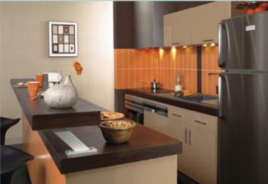 Am nagement petite cuisine plan de travail ouvert sur salon - Meubler une petite cuisine ...