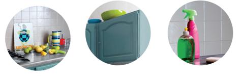 Résumé des avantages de la peinture pour meuble GripActiv V33 dans la cuisine : Haute résistance aux taches et aux chocs, rendu finition lisse et hautement lessivable avec produits ménagers courants.