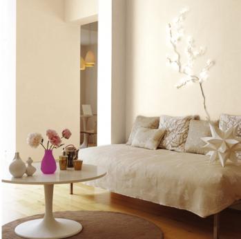 Couleur lin et peinture blanc cass dans un salon zen - Harmonie couleur salon ...