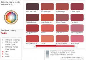 Simulateur couleur peinture Dulux Valentine. Sélectionner une teinte dans le nuancier de couleurs rouge