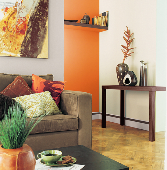 associer la peinture orange dans salon cuisine et chambre. Black Bedroom Furniture Sets. Home Design Ideas