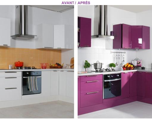 Peindre meubles cuisine avec resinence couleur prune - Peindre meuble bois cuisine ...