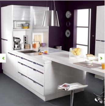 plan type cuisine blanche DELINIA chez Leroy merlin-meubles coloris blanc