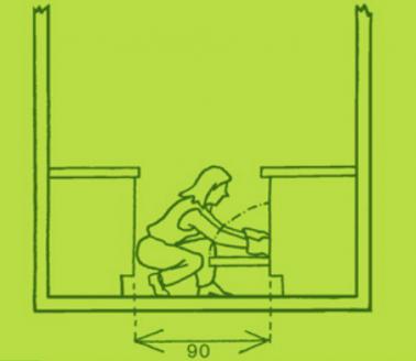 Pour l'aménagement d'une petite cuisine calculer la largeur disponible entre les meubles avec les portes ouvertes