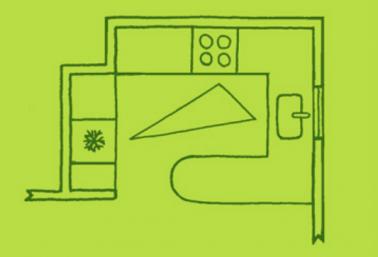 Pour optimiser l'aménagement et la circulation dans la zone d'activité d'une petite cuisine, calculer le triangle entre l'espace de cuisson et le plan de travail opposé en tenant compte des ouvertures des portes de placard et de celle du four
