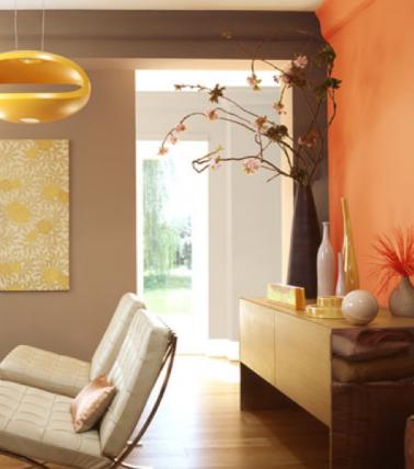 Relooker son salon avec une peinture ocre rouge pour une contraste pictures t - Teinte taupe peinture ...