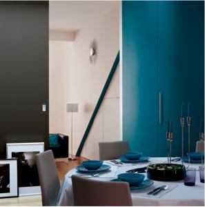 Peinture dans salon couleur bleu canard gris fer et blanc for Couleur bleu canard peinture