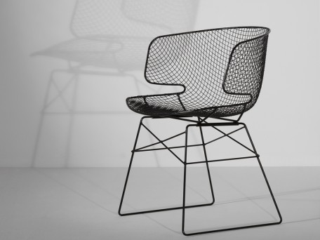 chaise design Arkys structure acier et coque grillage