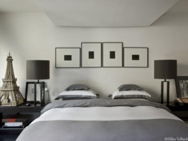 D coration chambre zen nuance gris blanc noir - Deco chambre adulte gris ...