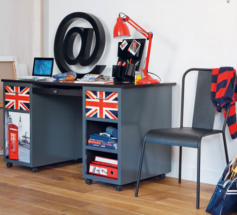bureau chambre enfant modele london maison du monde. Black Bedroom Furniture Sets. Home Design Ideas