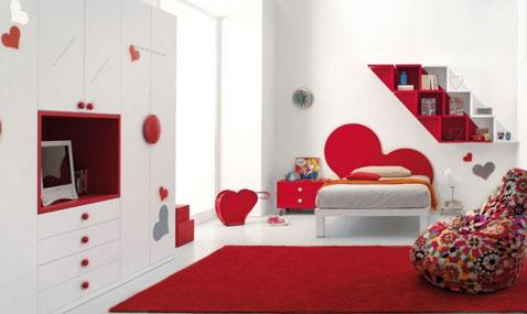 chambre ado fille rouge et blanc. Black Bedroom Furniture Sets. Home Design Ideas