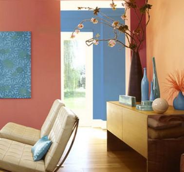 Couleur peinture salon bleu ocre rouge et p che en aplat - Idee pour separer une chambre en deux ...