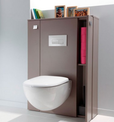 Couleur d co toilette gris et rose cuvette wc suspendu blanche - Decoration de toilettes zen ...