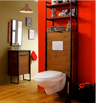 D coration toilette peinture rouge et cuvette wc suspendu - Decoration toilette suspendu ...