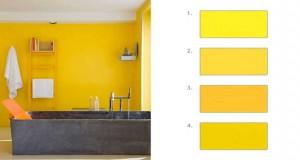 Adoptée la couleur jaune en peinture déco dans le salon, la chambre est parfait pour agrandir ou éclaircir une pièce. Avec du jaune se marient rouge, noir, une couleur gris pour les meubles et le sol