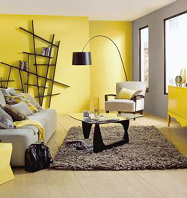 d co salon couleur jaune gris taupe et noir. Black Bedroom Furniture Sets. Home Design Ideas