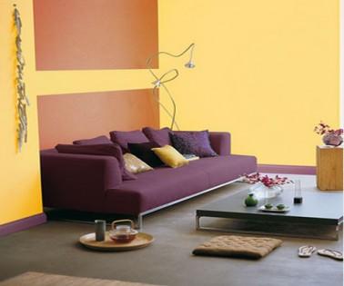 Couleur salon peinture associée jaune ocre et prune