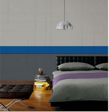Couleur d co chambre palette de gris bandeau bleu intense for Peinture bleu et gris pour chambre