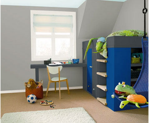 Decoration chambre enfant lit supperpose peinture bleu - Chambre couleur bleu et gris ...