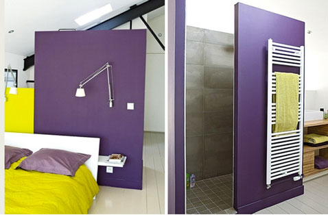 d coration chambre parentale couleur violet et jaune anis. Black Bedroom Furniture Sets. Home Design Ideas