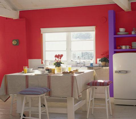 Peinture Cuisine Rouge Et tagres Rangement Couleur Violet