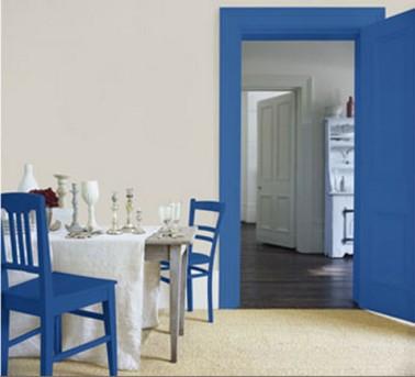 Peinture cuisine ouverte couleur murs gris perle portes bleu for Decoration peinture pour salle a manger