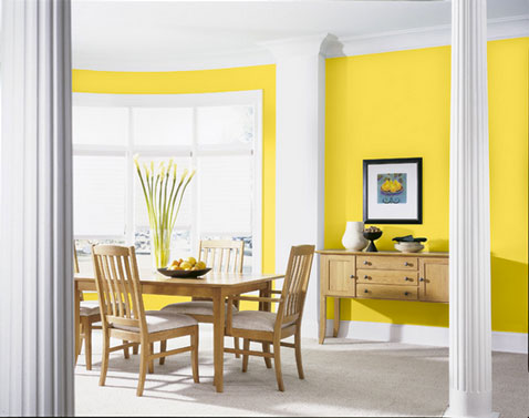 couleur salle manger jaune et blanc peinture dulux valentine. Black Bedroom Furniture Sets. Home Design Ideas