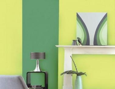 Peinture salon appliqu e en bandes couleur vert jaune et blanc - Papier peint et peinture dans la meme piece ...