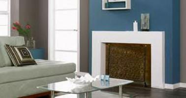 D co salon peinture taupe chemin e peinte en bleu for Taupe et bleu canard