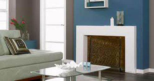 couleurs peinture decoration salon harmonie de bleu taupe et blanc
