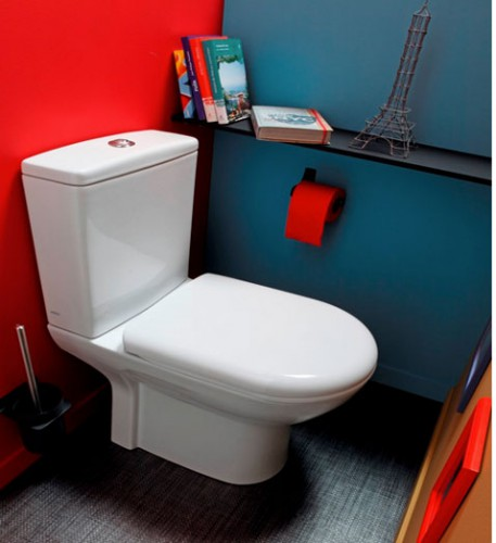 D co wc peinture couleur rouge et bleu canard sol gris for Peinture bleu et gris