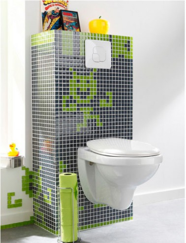 d co wc cuvette suspendu bloc chasse eau en carrelage noir et vert. Black Bedroom Furniture Sets. Home Design Ideas