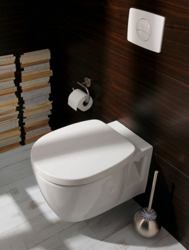 D co toilettes cuvette design blanche murs habillage wenge - Revetement mural pour wc ...