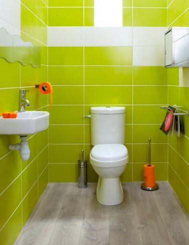 D co wc fa ence murale vert anis accessoires orange - Decoration toilette originale ...