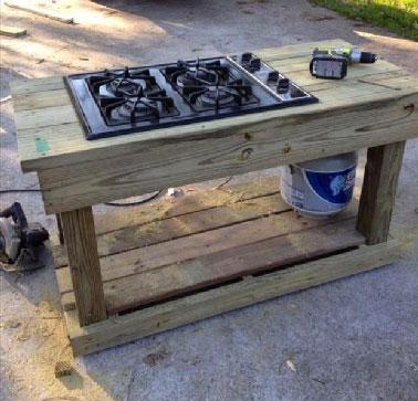 Fabriquer une cuisine d 39 t en palette - Fabriquer plan de travail cuisine ...