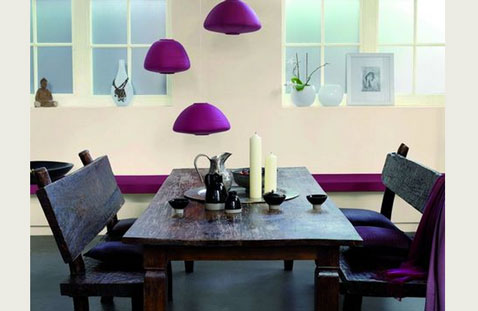 Peinture Salle À Manger Harmonie Couleur Écru Violet Et Noir