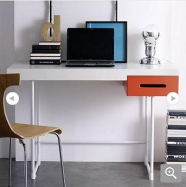 bureau chambre enfant et adulte bicolore tiroir rouge gris collection kolorcaz les 3 suisses - Bureau Chambre Adulte