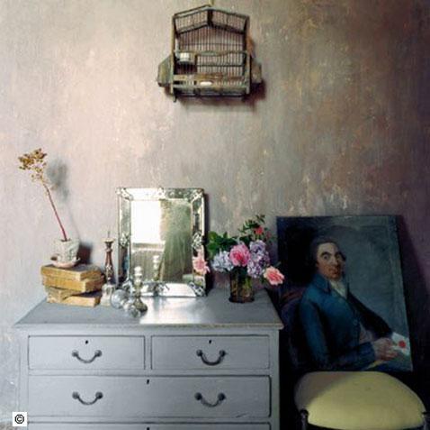patiner murs chambre avec effet chaux vieillie de boiron. Black Bedroom Furniture Sets. Home Design Ideas