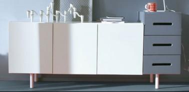 Buffet salon 3 portes 1 tiroir kolorcaz blanc et ardoise - Meuble cuisine 3 suisses ...