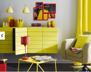 couleur d co salon peinture gris galet meubles jaune. Black Bedroom Furniture Sets. Home Design Ideas