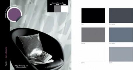 decoration salon, fauteuil cuir noir, rideaux voilage blanc, coussin tissu metalisé, peinture murale gris souris peinture ripolin