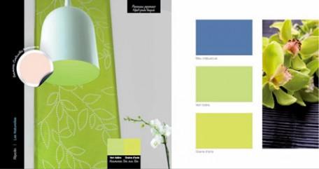 harmonie couleurs pour une deco maison avec peinture bleu et vert anis pour les murs à compléter avec coussins ou objets decoration couleur nacre