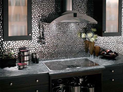 Cr dence cuisine carrelage en inox mod le galet - Carrelage credence cuisine design ...